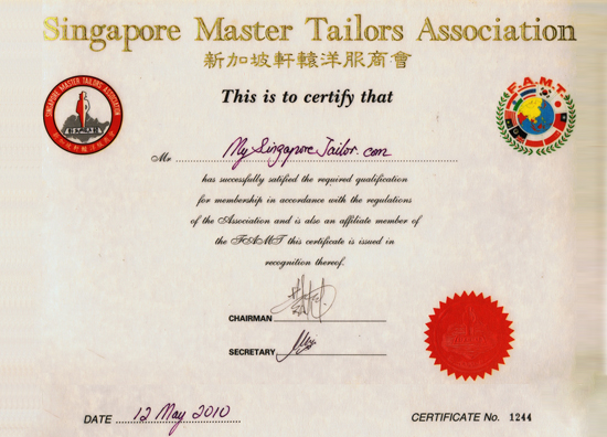Singapore Master Tailors' Association Certificate